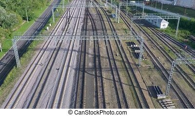 Multiple railroad tracks aerial video clip