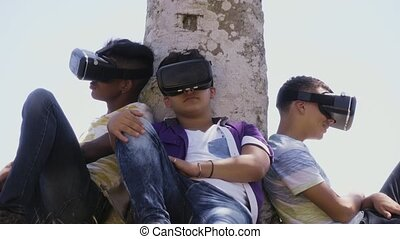 15-Multiethnic Group Of Teenagers Playing Virtual Reality...