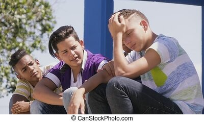 10-Group Of Teenagers Boys Supporting Comforting Friend -...