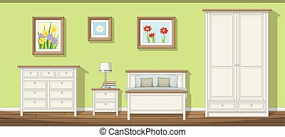 Illustration of a classic bedroom