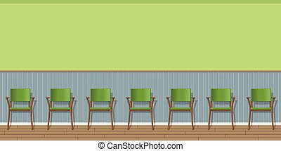 Illustration of a waiting room with chairs