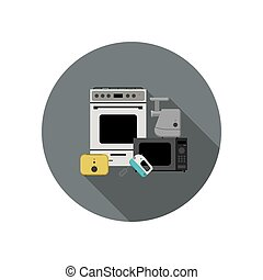 Household appliances icon - Vector flat icon of household...