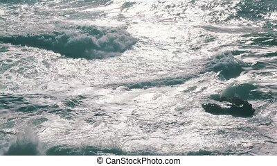 Ocean Waves with Sun Reflection, closeup