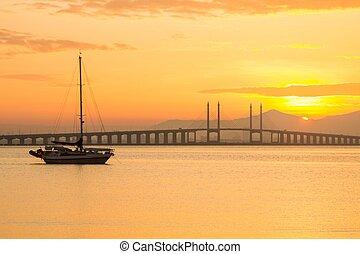 Penang Bridge sunrise with boat