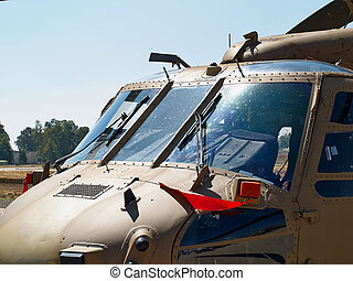 Military helicopter Blackhawk UH-60 - Close details of a...