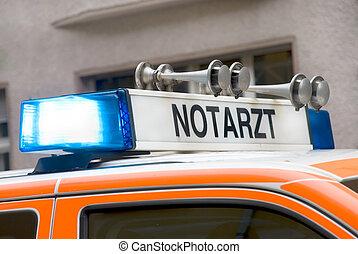 青, 緊急事態, ドイツ語, ライト, 屋根, 自動車