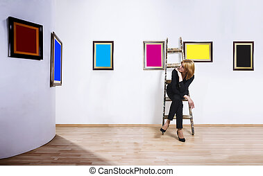 Art collector in museum - A woman sitting on ladder in...
