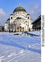 Cathedral of Saint Sava at winter, Belgrade Serbia