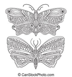 Butterfly - Vector - Black and white