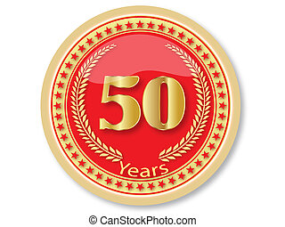 50 Years Anniversary Golden Button.Smage