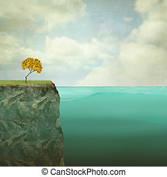 Small Tree Perched - Surreal illustration of a small tree...