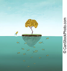 Little Island - Surreal illustration of a little island with...