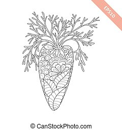 Vector illustration cartoon carrot with floral ornament. Coloring book page
