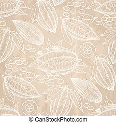 Graphic cocoa fruits pattern - Graphic cocoa fruits on aged...