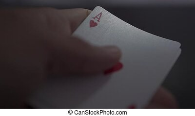 Close up of royal flush cards