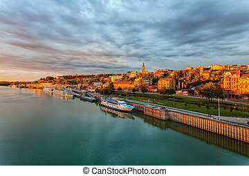 Belgrade - Panorama of Belgrade with river sava on a sunny...