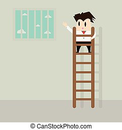 Businessman climbing stairs to freedom