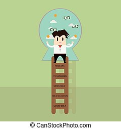 Businessman going up on a ladder to success, 5 step for success