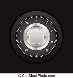 Combination lock on a black background