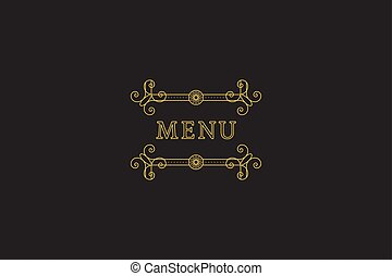 Restaurant Menu Headline on Dark Background Vector Vintage...