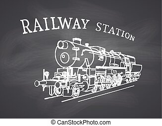 Vector Retro Steam Locomotive