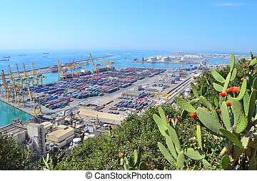 Barcelona from Montjuic - Barcelona, Spain View of the port...