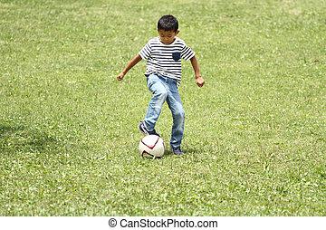 japoneses, Menino, com, futebol, bola,