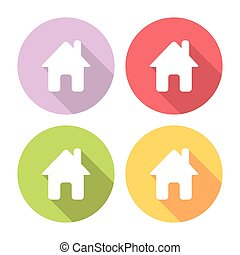 Home Flat Icons Set