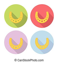 Horseshoe Lucky Talisman Flat Icons Set - Horseshoe Lucky...