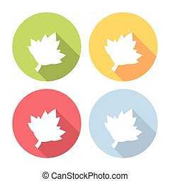 Grape Leaf Flat Icons Set - Grape Leaf Flat Style Design...