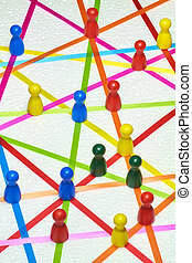 network - Colorful ribbons create a network on a white...