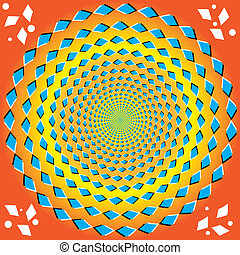 Perpetual Rotation op illusion - A circular pattern of blue...