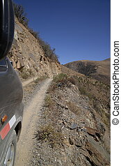 Dangerous very narrow road in Peru