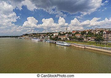 Panorama view on Belgrade fortress and old part of town, on...