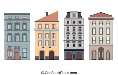 Beautiful detailed linear cityscape collection with...