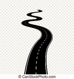 Curved winding road with white markings. Vector illustration...