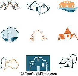 Real Estate web icons set. House logos. Construction logo. Vector.