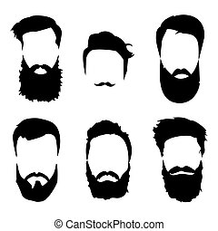 Hipster detailed hair and beards set Fashion bearded man...