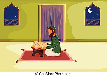 Muslim reading holy book Quran on Eid in vector