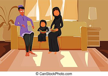 Happy muslim family celebrating Eid in vector