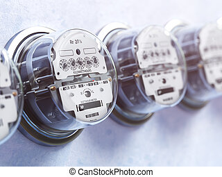 Row of analog electric meters. Electricity consumption...