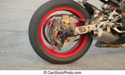 Riding a motorcycle rider view