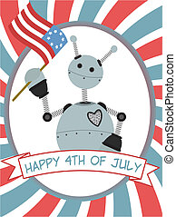 4th of July Robot Waving Flag Banne