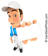 3d painter holding company card, illustration with isolated...