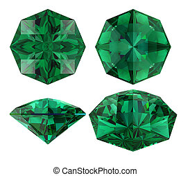 Emerald eight star cut isolated - Emerald gem eight star cut...