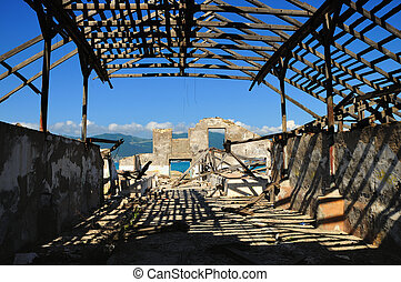 Ruins of the last century - The destroyed building on...