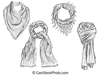 scarves isolated on white background. 10 EPS