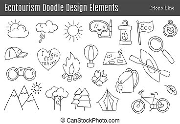 Vector ecotourism design elements isolated - Set of...
