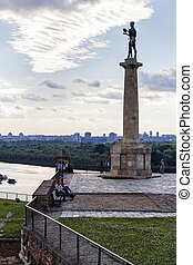 Belgrade victor monument on medieval walls of fortress with...