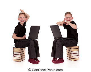 Various poses young child laptop - Various poses of young...